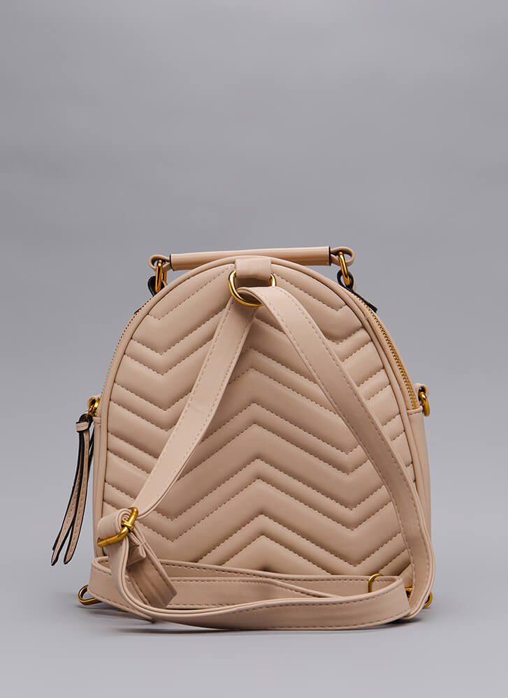 Which Direction Quilted Mini Backpack TAUPE