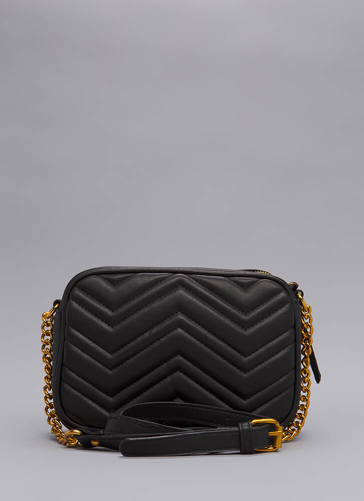 Which Direction Quilted Purse BLACK