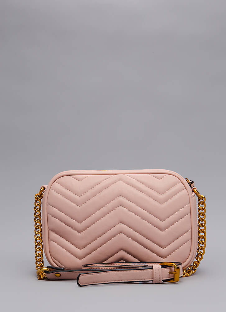 Which Direction Quilted Purse PINK