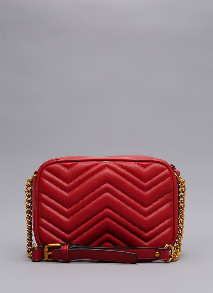 Which Direction Quilted Purse RED