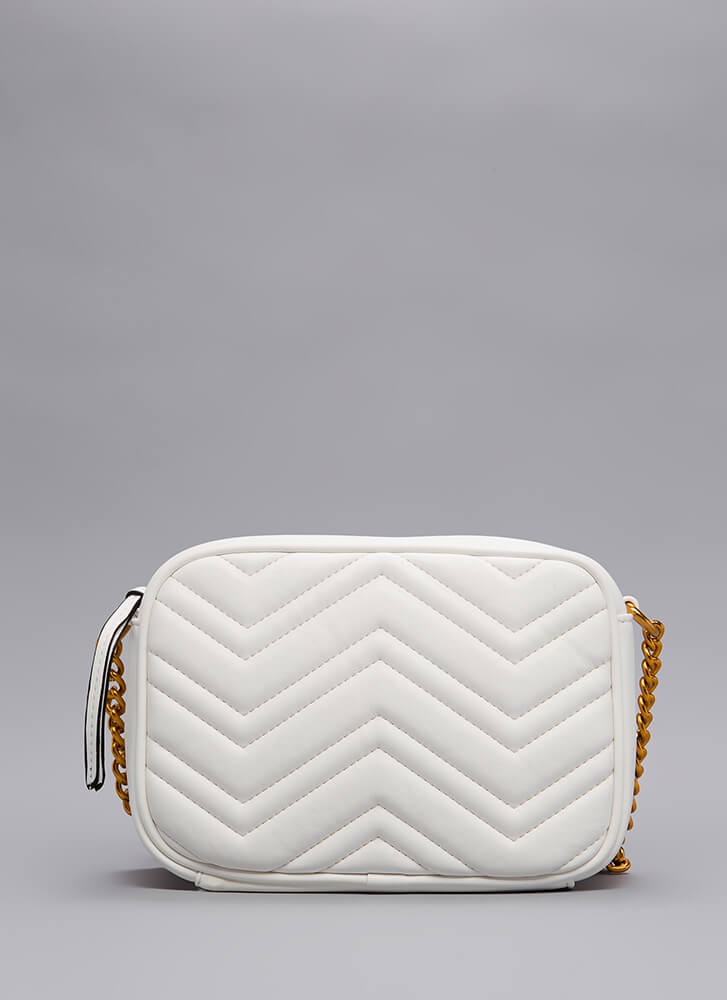 Which Direction Quilted Purse WHITE