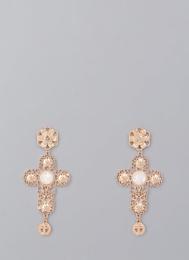 Make A Statement Cut-Out Cross Earrings GOLD