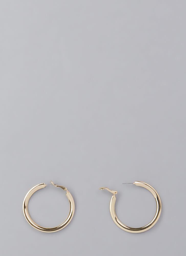 Round One Shiny Hoop Earrings GOLD