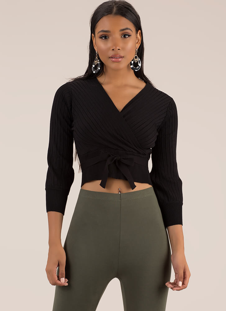 Just Say Yes Ribbed Faux Wrap Top BLACK