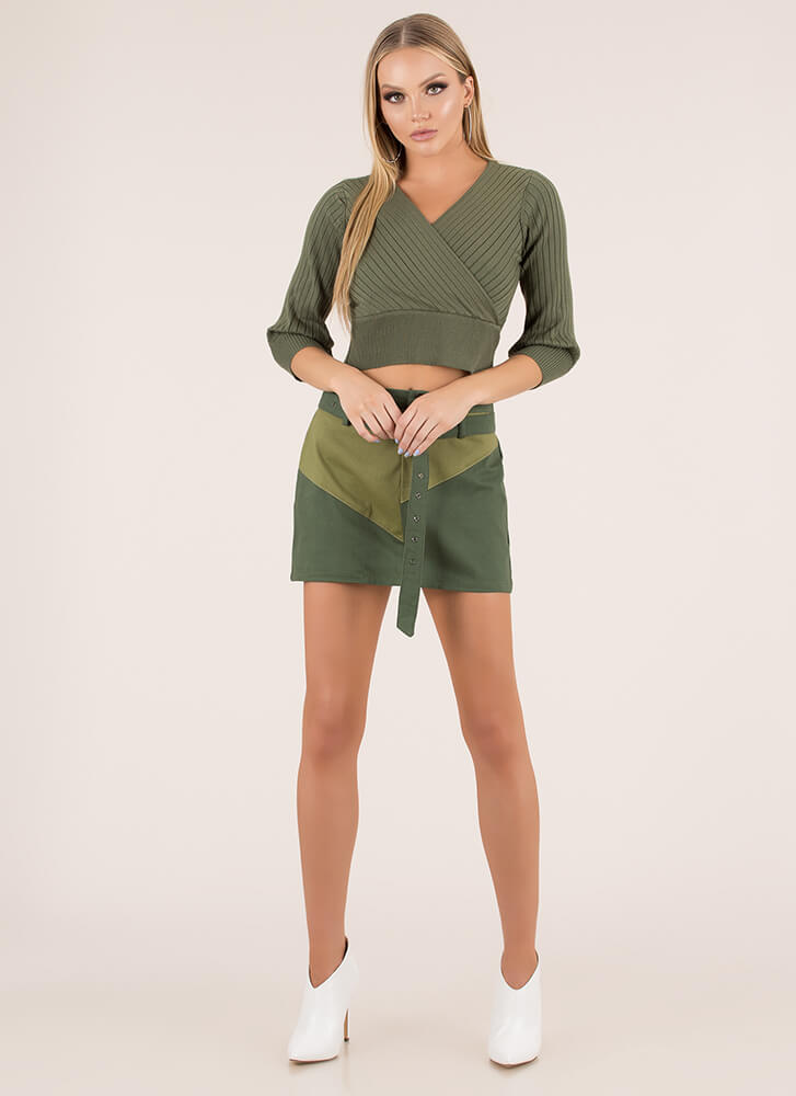 Just Say Yes Ribbed Faux Wrap Top OLIVE