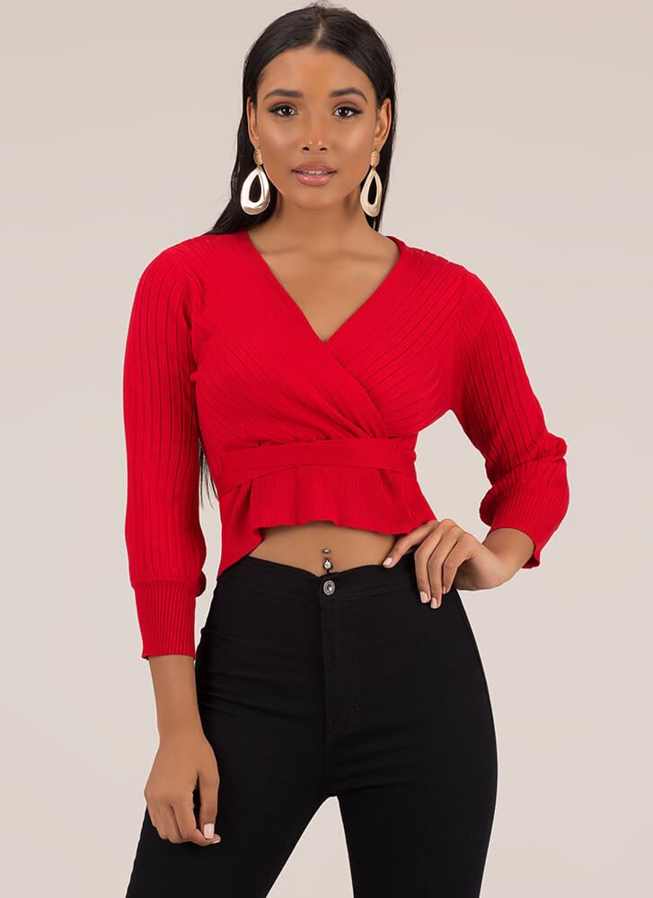 Just Say Yes Ribbed Faux Wrap Top RED