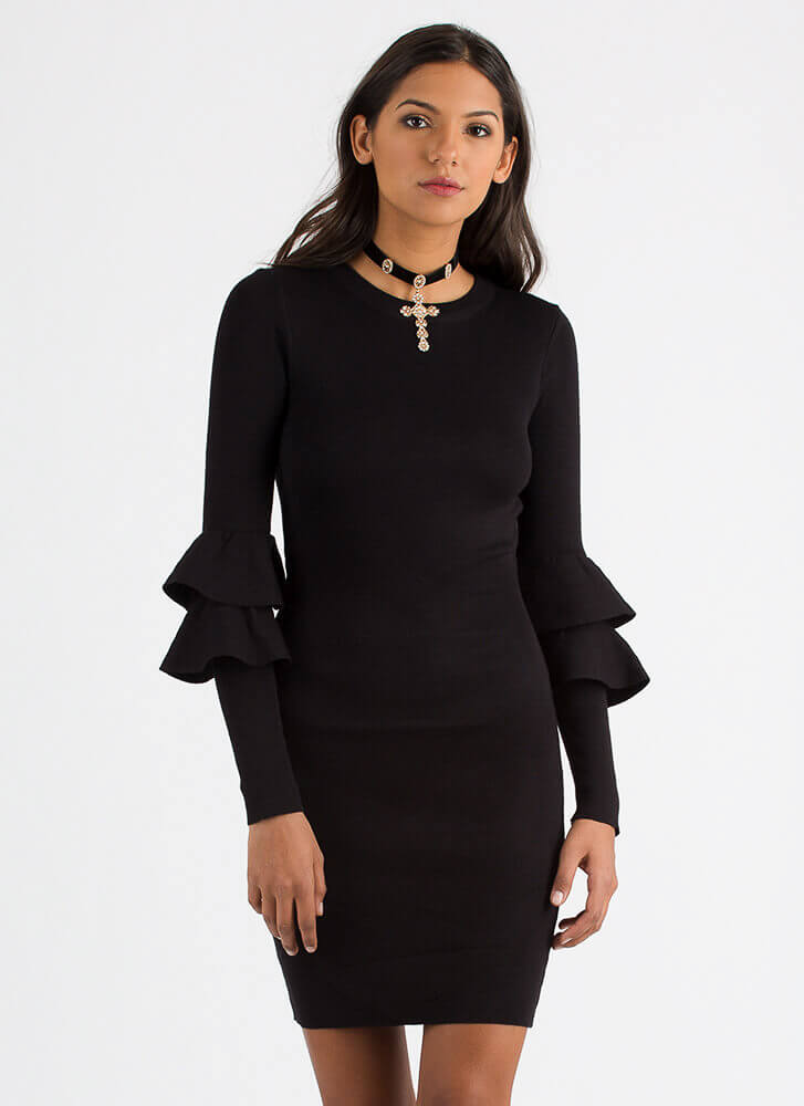 Double Trouble Ruffled Knit Dress BLACK