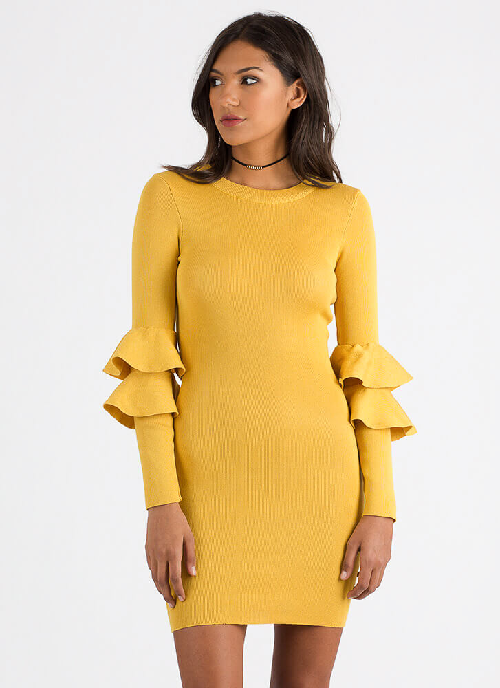Double Trouble Ruffled Knit Dress MUSTARD