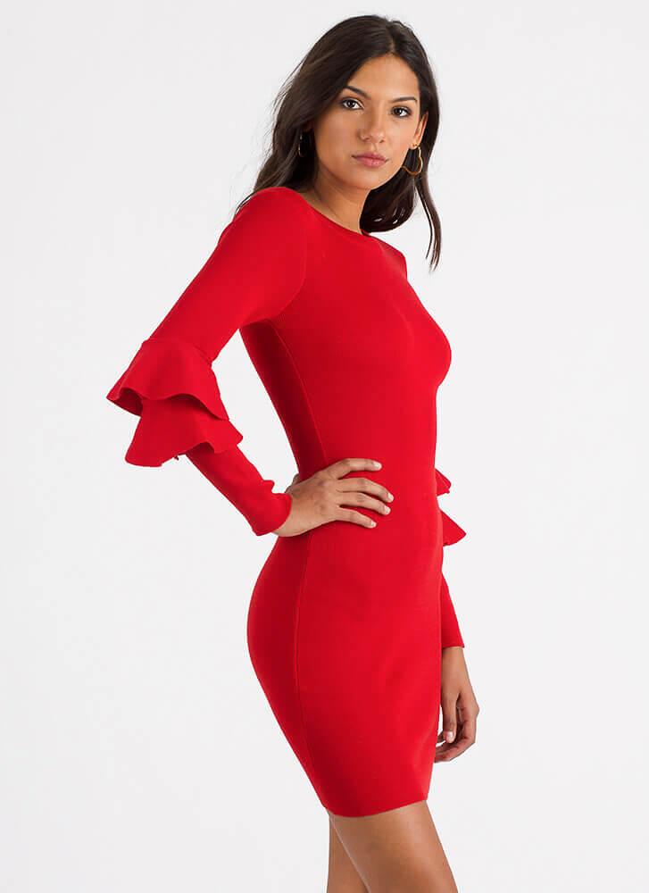 Double Trouble Ruffled Knit Dress RED