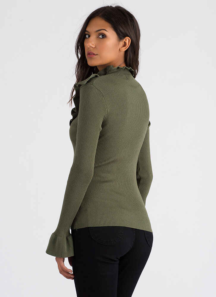 Ruffles For Days Ribbed Sweater Top OLIVE