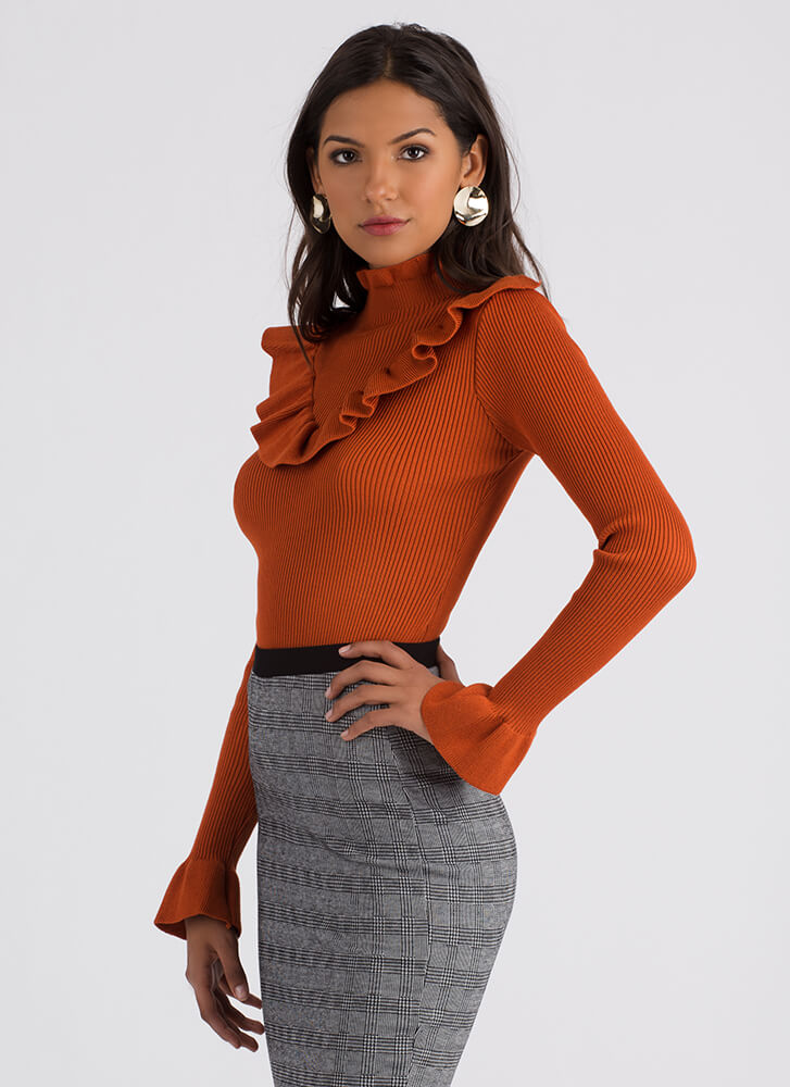 Ruffles For Days Ribbed Sweater Top RUST