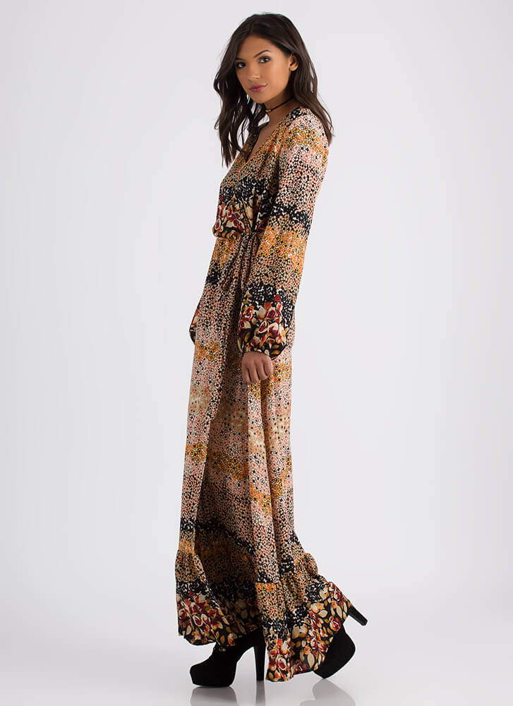 On The Prairie Wrapped Floral Maxi Dress MULTI