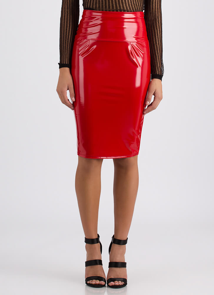 Curve Appeal Faux Patent Pencil Skirt RED