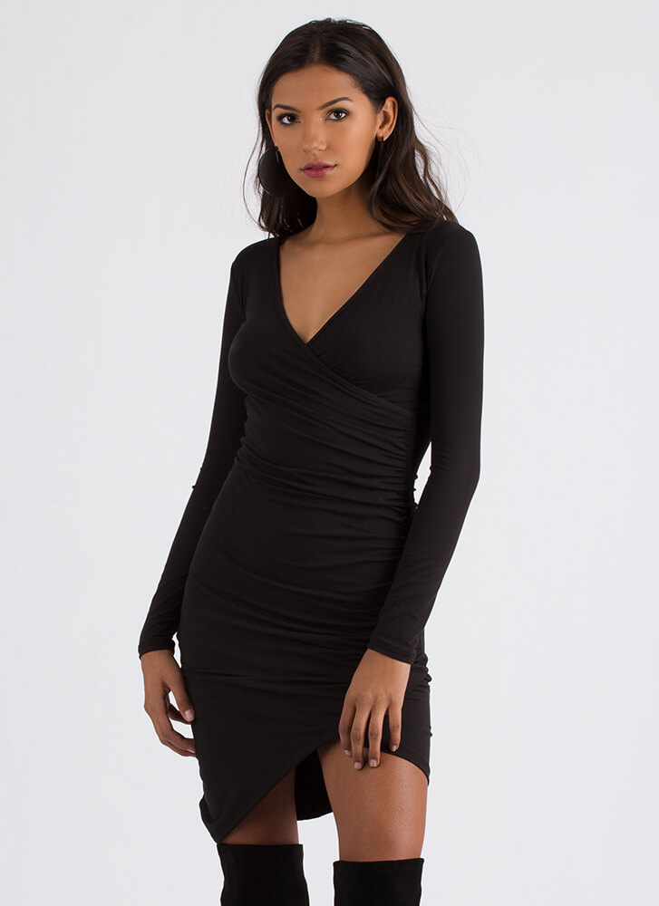 Instant Upgrade Ruched Faux Wrap Dress BLACK