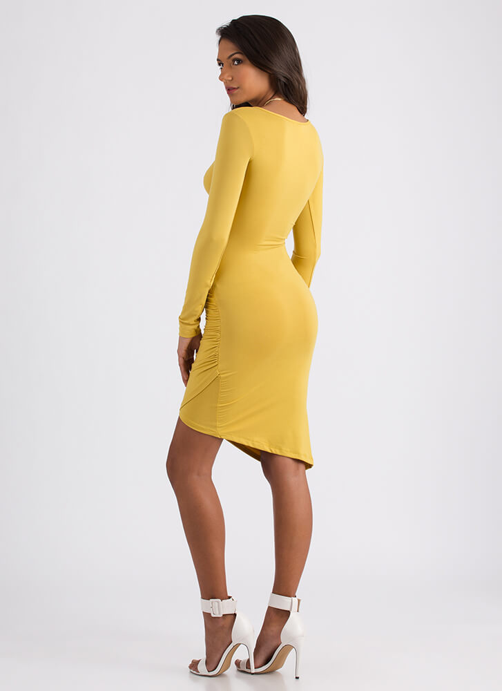 Instant Upgrade Ruched Faux Wrap Dress MUSTARD