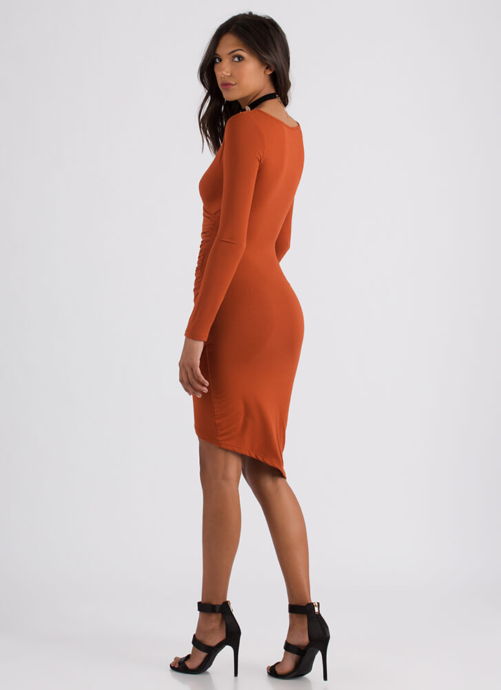 Instant Upgrade Ruched Faux Wrap Dress RUST