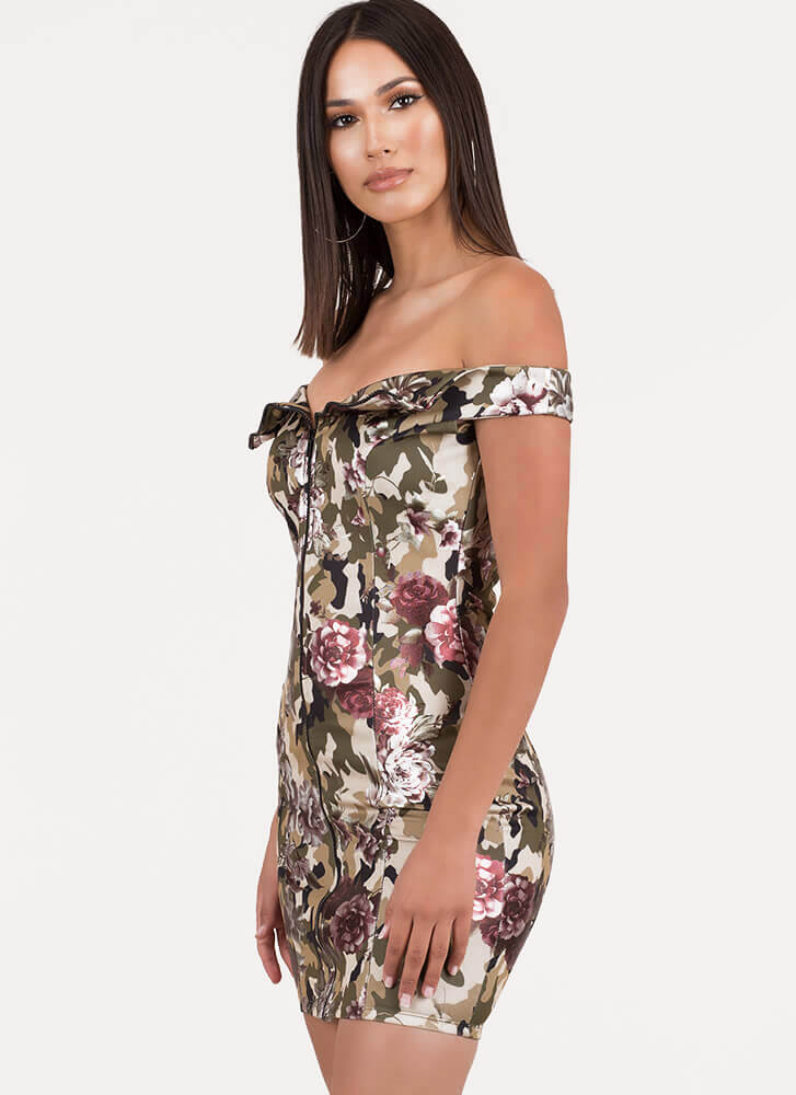 Mixed Up Camo Floral Off-Shoulder Dress CAMOUFLAGE (Final Sale)