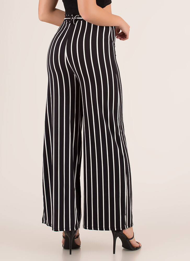 Lineup Belted Pinstriped Palazzo Pants BLACK
