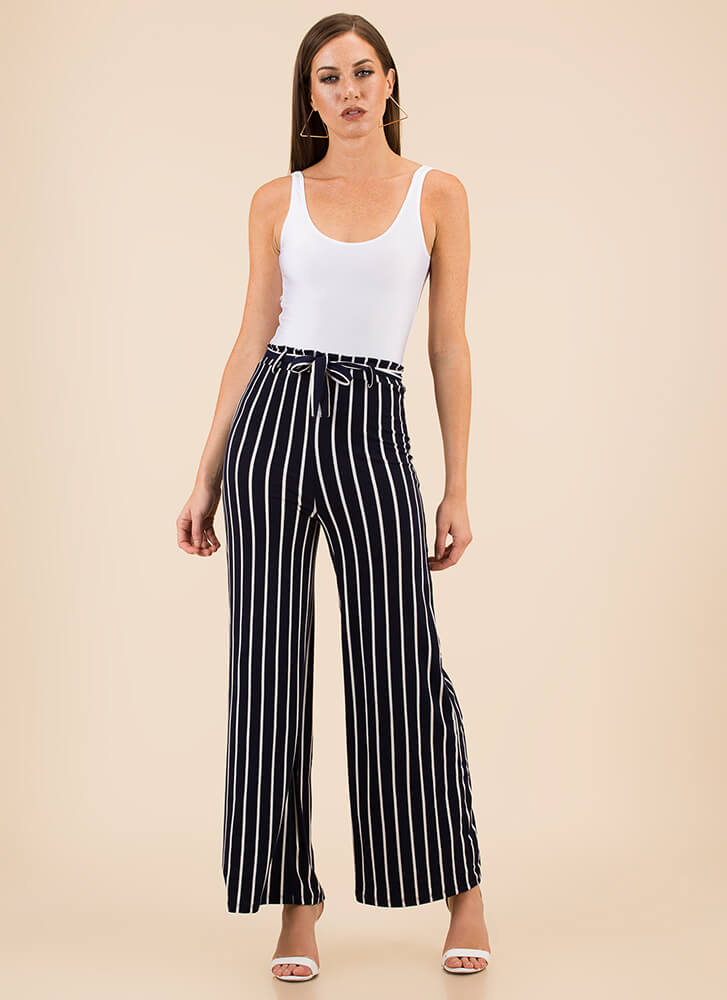 Lineup Belted Pinstriped Palazzo Pants NAVY