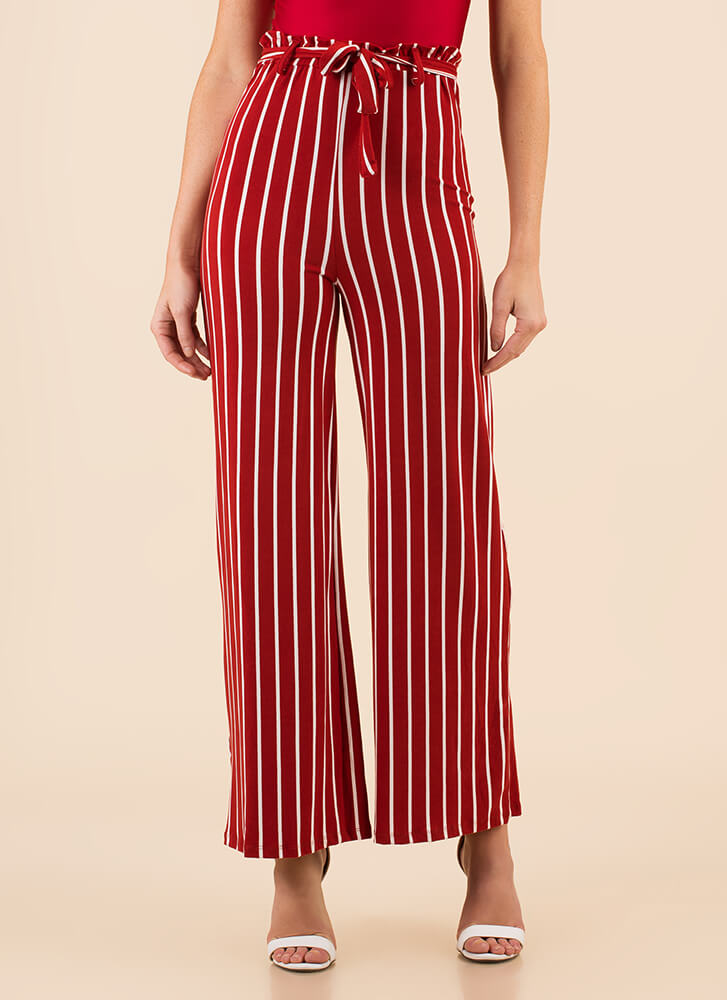 Lineup Belted Pinstriped Palazzo Pants RED