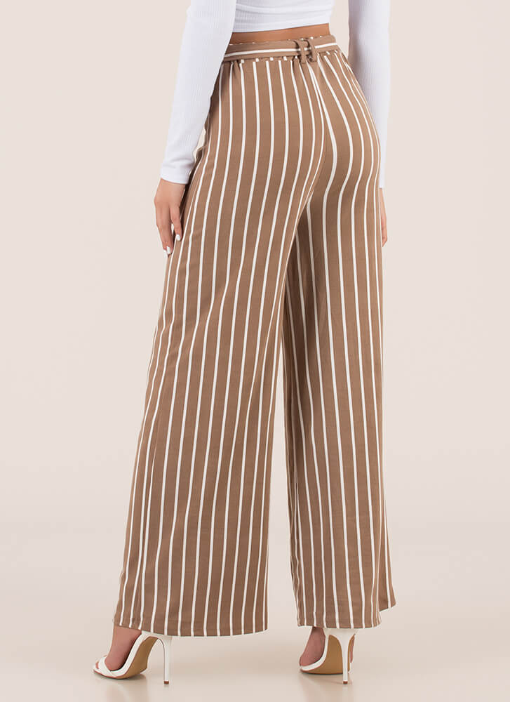 Lineup Belted Pinstriped Palazzo Pants TAUPE