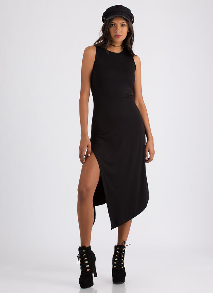 At A Slant Asymmetrical Slit Dress BLACK