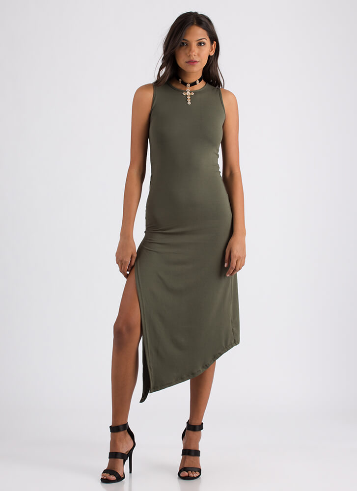 At A Slant Asymmetrical Slit Dress OLIVE