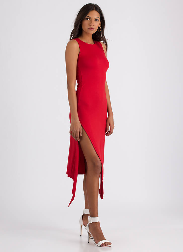 At A Slant Asymmetrical Slit Dress RED