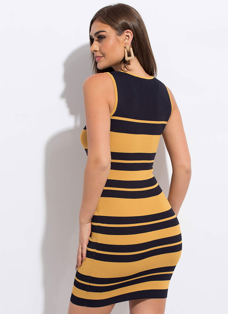 Candy Store Striped Knit Midi Dress NAVYMUSTARD