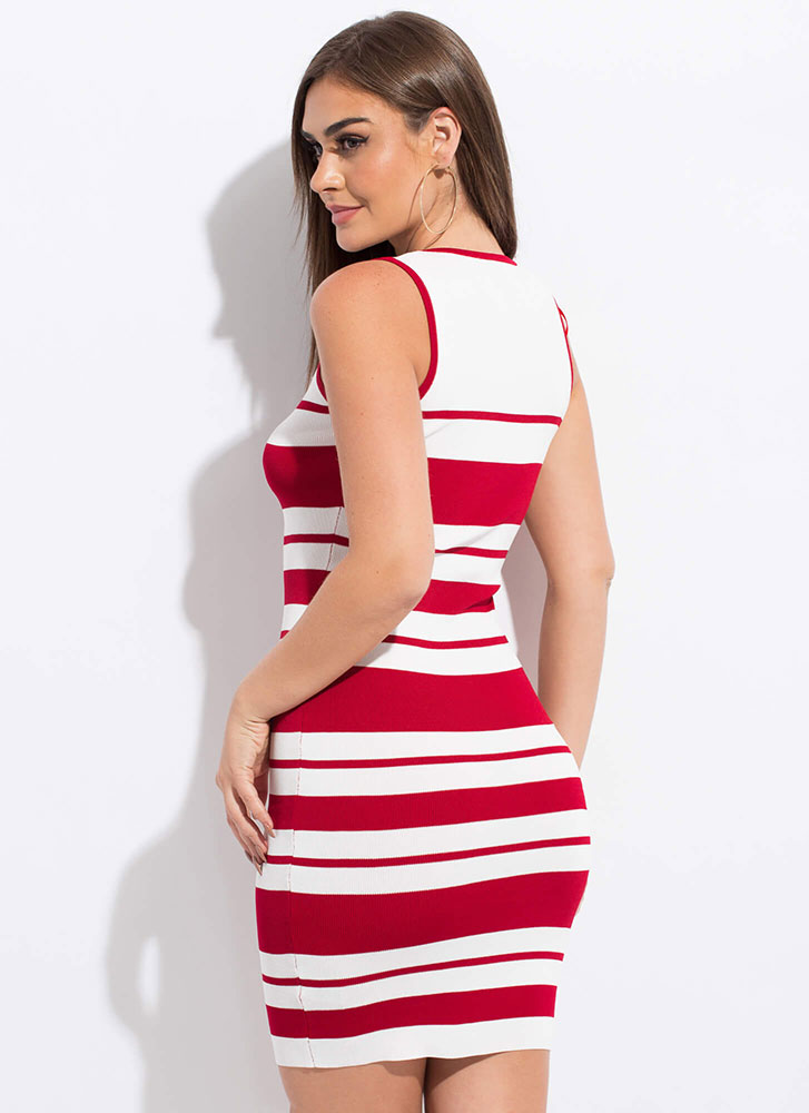 Candy Store Striped Knit Midi Dress WHITERED