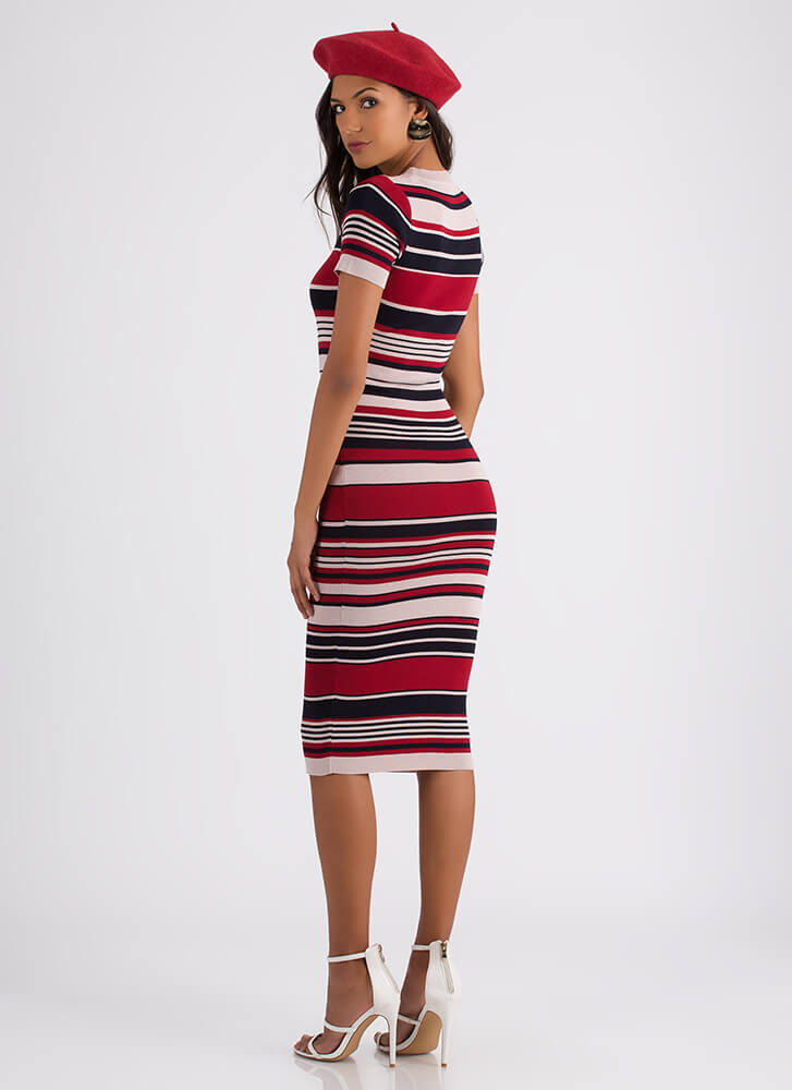 Line Dance Striped Knit Midi Dress PINKMULTI
