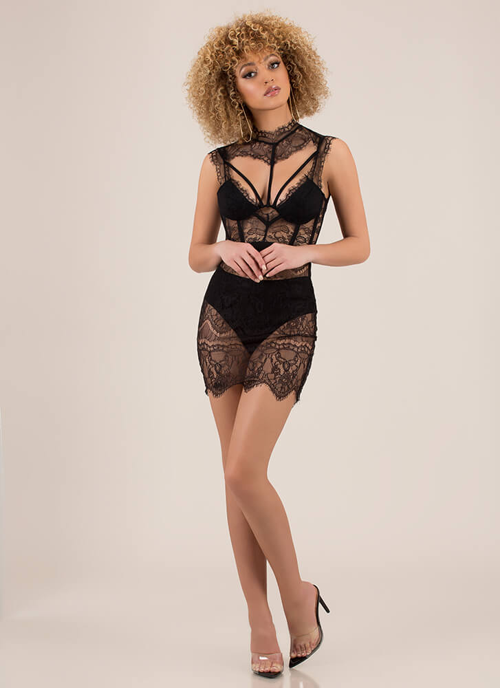 Hot Nights Strappy Lace Minidress BLACK (Final Sale)