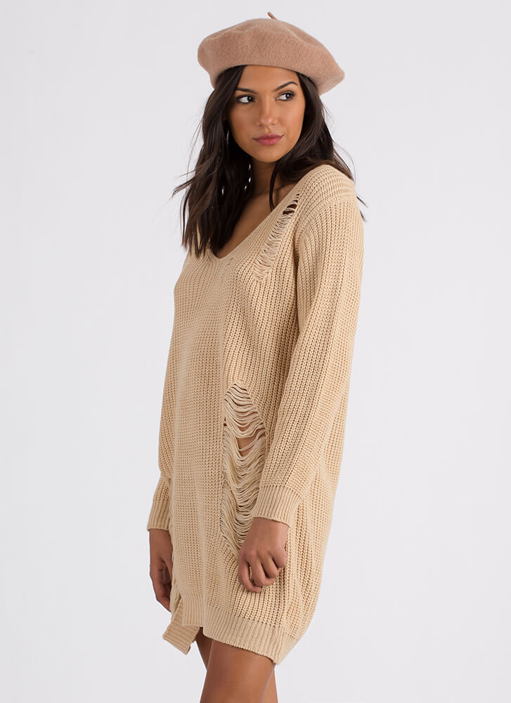 Snag This Look Distressed Sweater BEIGE