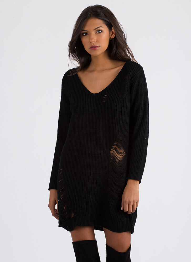 Snag This Look Distressed Sweater BLACK