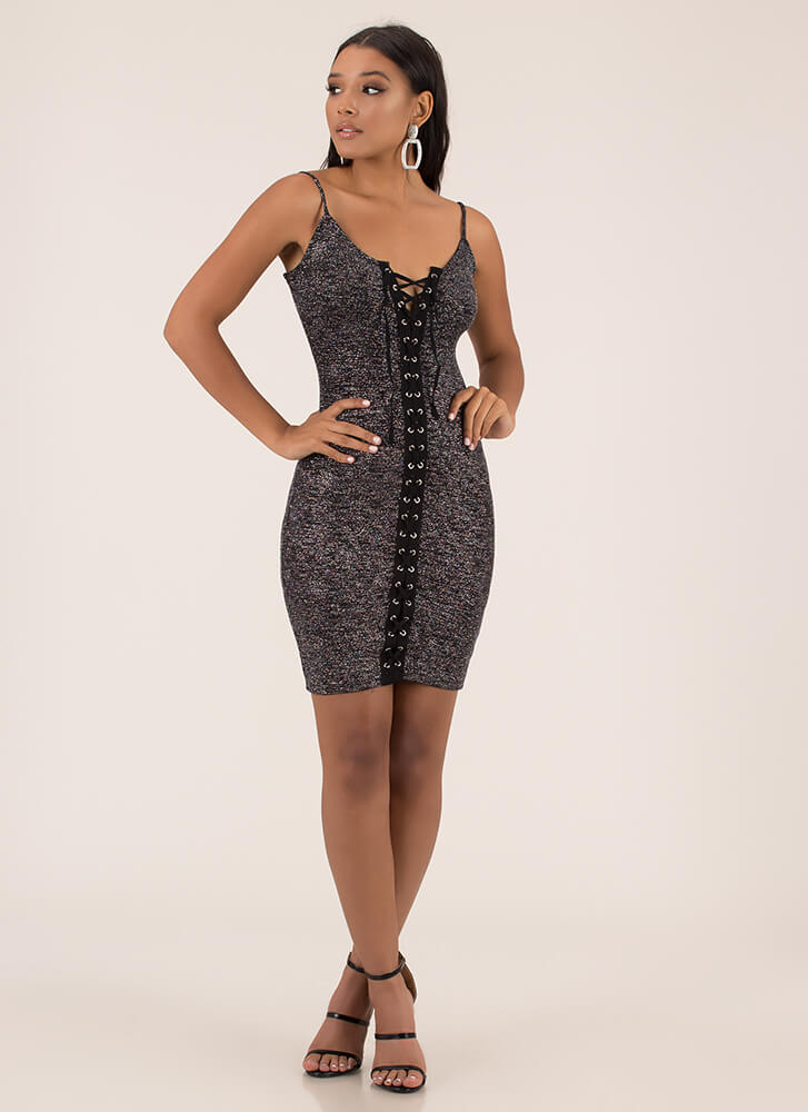 Pack A Punch Glittery Lace-Up Dress BLACK