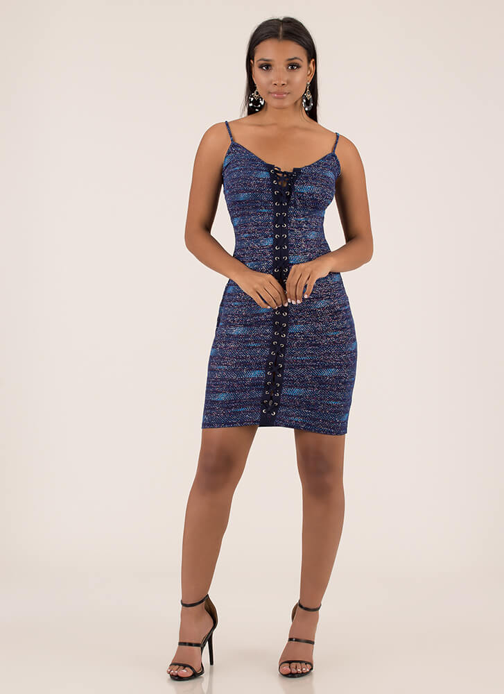 Pack A Punch Glittery Lace-Up Dress NAVY