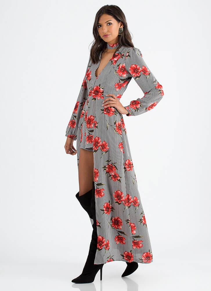 Float Away Pinstriped Floral Maxi BLACKRED