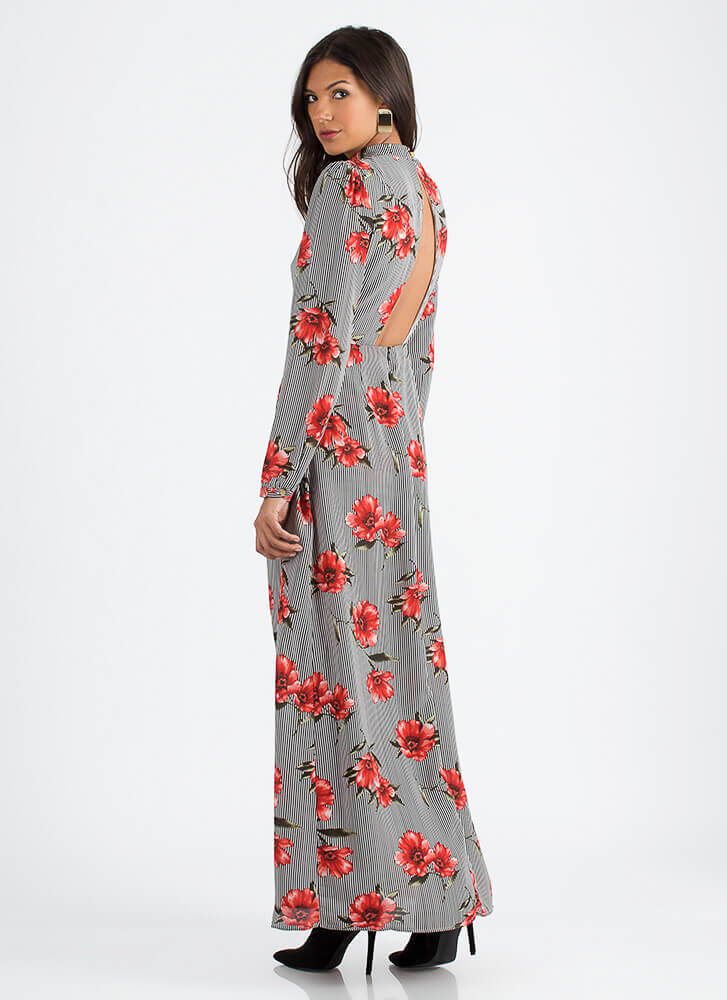 Float Away Pinstriped Floral Maxi BLACKRED (You Saved $20)