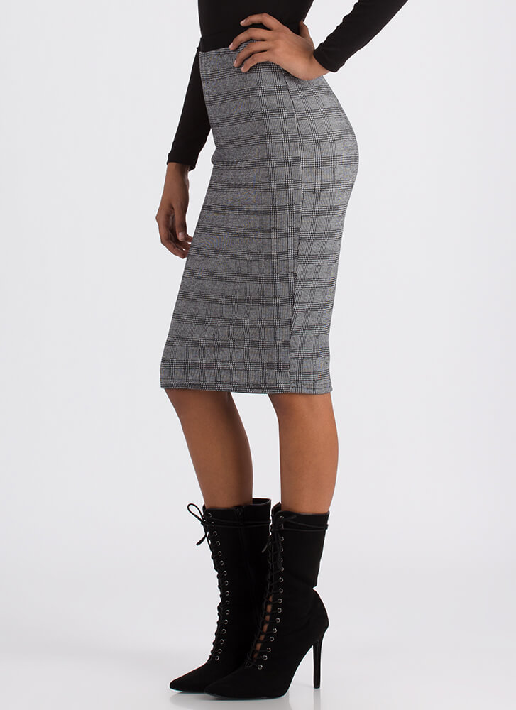 Grid Luck To You Plaid Pencil Skirt BLACK