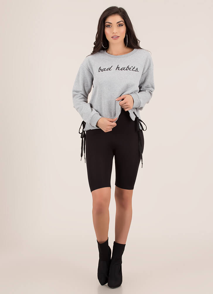 Bad Habits Side-Tied Sweatshirt HGREY