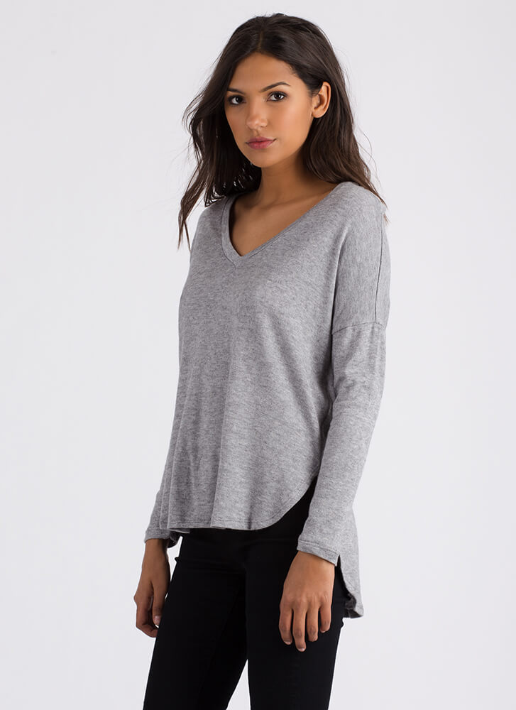 Stay Warm Long-Sleeved High-Low Top HGREY