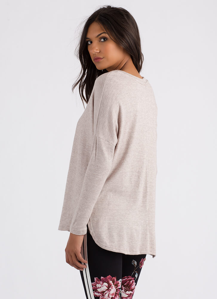 Stay Warm Long-Sleeved High-Low Top KHAKI