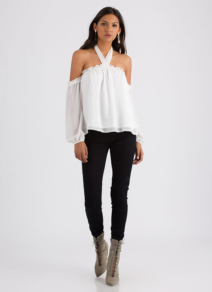 No Air Ruffled Off-Shoulder Blouse OFFWHITE
