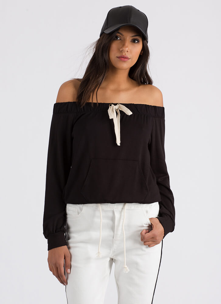 Taking The Day Off-Shoulder Sweatshirt BLACK