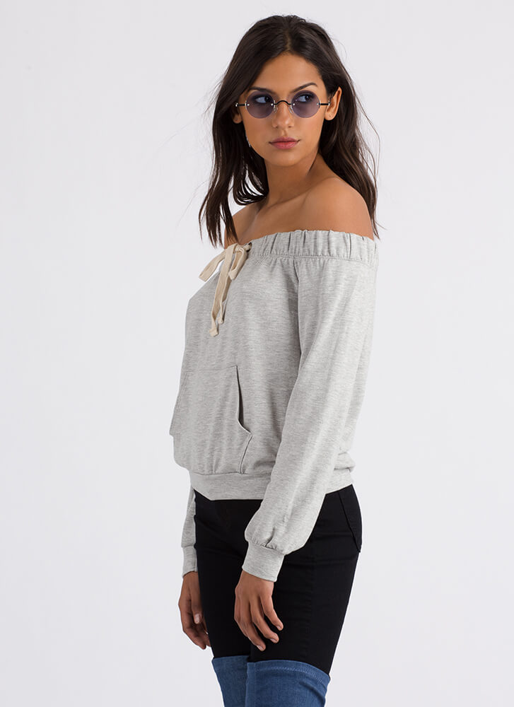 Taking The Day Off-Shoulder Sweatshirt HGREY