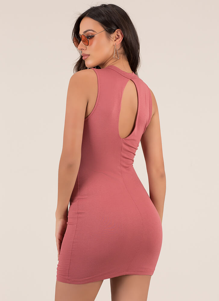 Just The Ticket Faux Lace-Up Dress BRICK