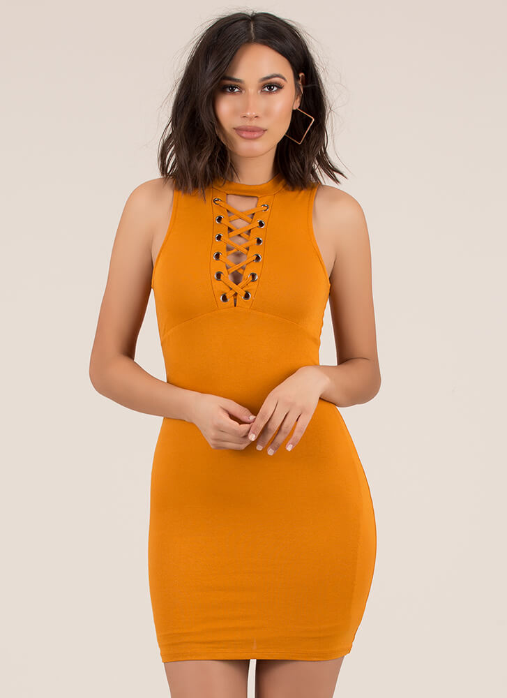 Just The Ticket Faux Lace-Up Dress MUSTARD