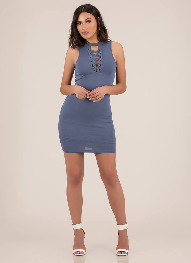 Just The Ticket Faux Lace-Up Dress SLATE (Final Sale)