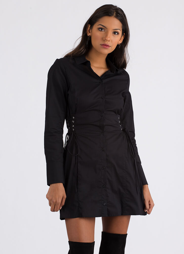 Fit And Flair Lace-Up Corset Shirt Dress BLACK