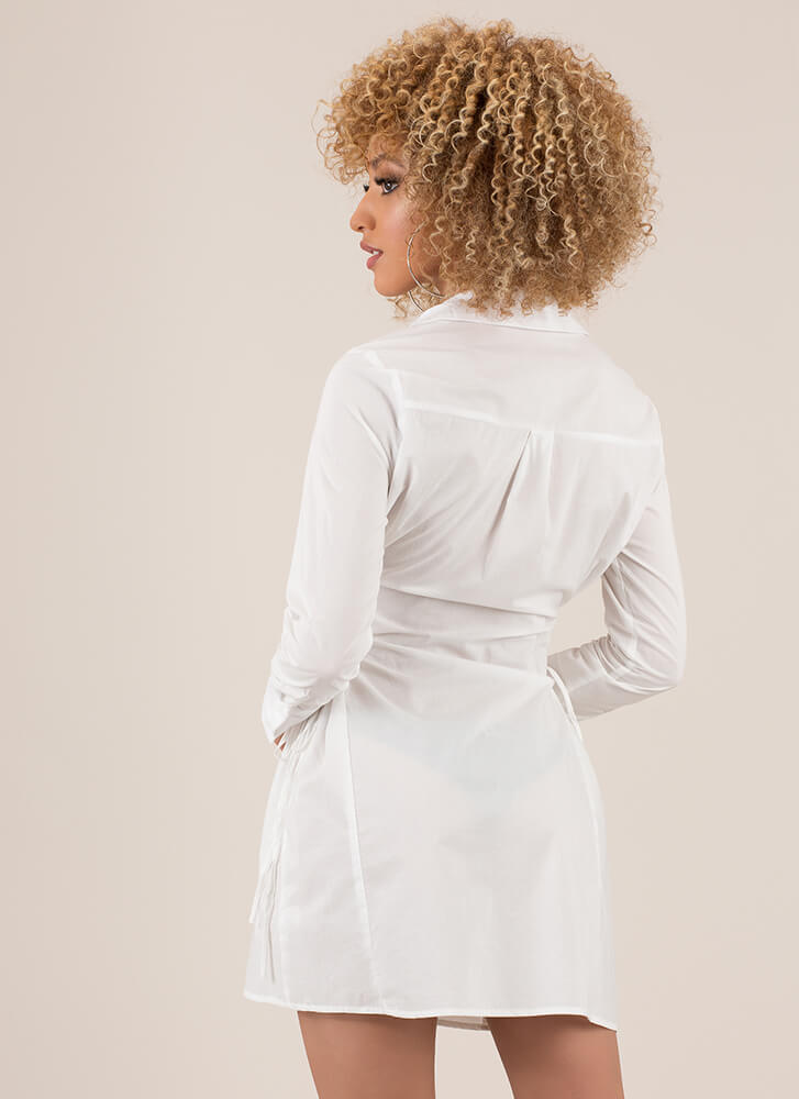 Fit And Flair Lace-Up Corset Shirt Dress WHITE